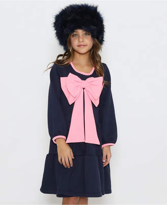 Lanoosh Toddler A-Line Long Sleeve Dress with A Gathered Skirt and A Pink Bow On The Center