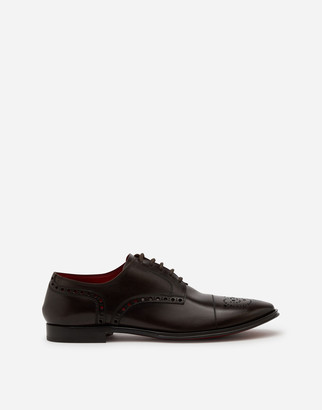 Dolce & Gabbana Full Brogue Derby In Michelangelo Calfskin