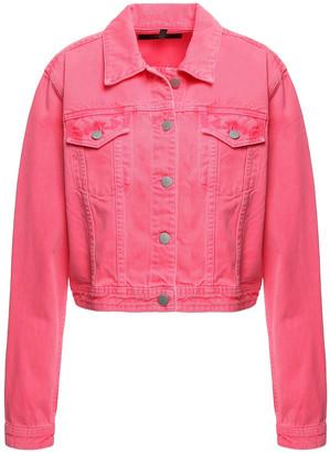 J Brand Rosy Cheek Cropped Neon Denim Jacket
