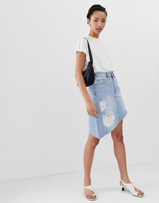 Dr. Denim asymmetric raw hem denim skirt
