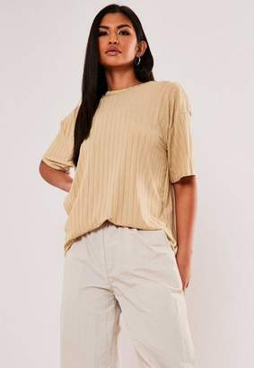Missguided Recycled Sand Rib Short Sleeve T Shirt