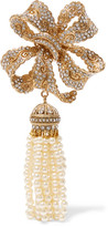 Dolce & Gabbana Gold-plated, Crystal And Faux Pearl Brooch - one size