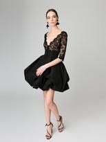 Oscar de la Renta Corded Lace and Silk-Faille Cocktail Dress