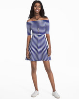 White House Black Market Off-the-Shoulder Striped Sneaker Dress