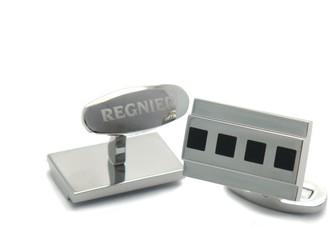 Regnier Black Enamel and Stainless Steel Cufflinks