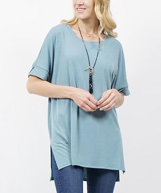 Lydiane Women's Tunics BLUEGREY - Blue Gray Crewneck Roll-Cuff Side-Slit Top - Women