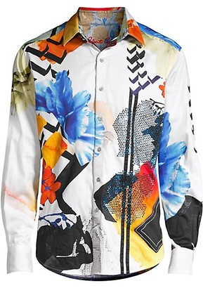 Robert Graham Limited Edition Multicolor Abstract-Print Sport Shirt