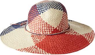 La Fiorentina Women's Patterned Paper Straw Brim Hat with Tie