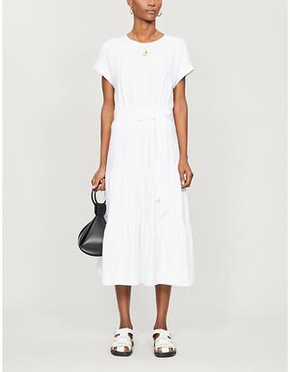 Veronica Beard Tie-belt stretch-cotton midi dress