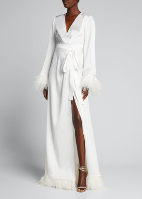 Bronx and Banco Feather Trim Satin Robe Gown