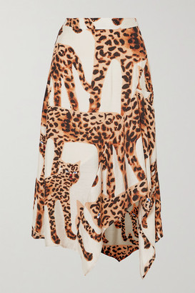 MUNTHE Jeez Asymmetric Animal-print Voile Midi Skirt - Ecru
