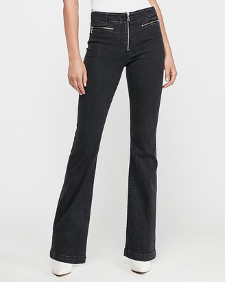 Express High Waisted Denim Perfect Black Zip Fly Bootcut Jeans