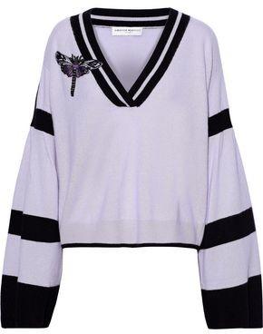 Amanda Wakeley Appliqued Striped Brushed-cashmere Sweater