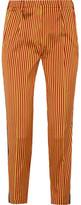 Etro Striped Silk Straight-leg Pants - Yellow