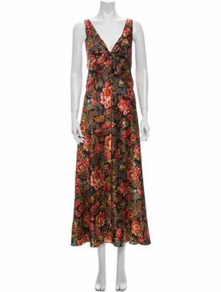 Valentino Floral Print Long Dress Blue
