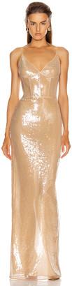 David Koma Sequins Bra Detail Gown in Beige | FWRD