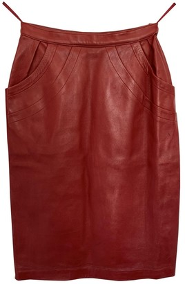 Saint Laurent Red Leather Skirt for Women Vintage