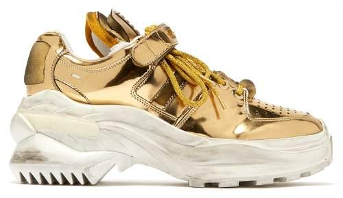Maison Margiela Retro Fit Deconstructed Low Top Leather Trainers - Womens - Gold