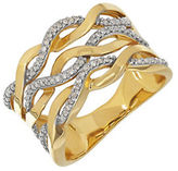 Lord & Taylor Diamond and 14K Yellow Gold Wave Ring