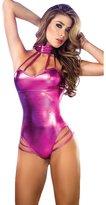 Bestgift Women Faux Leather Underwired String Lingerie Bodysuit
