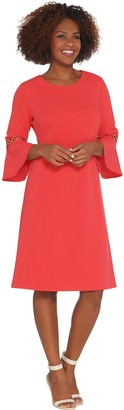 Dennis Basso Luxe Crepe Dress with Trimmed Flounce Sleeves
