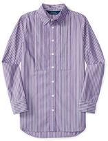 Ralph Lauren Girls 7-16 Point Collar Button Front Shirt