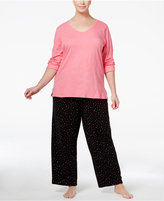 Charter Club Plus Size Mix-It Top and Printed Pants Pajama Set, Only at Macy's