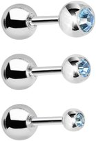 Body Candy Brilliant Accented Stainless Steel Cartilage Tragus Barbell Set of 3 16 Gauge 1/4""