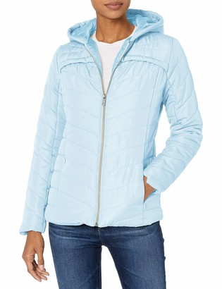 Pink Platinum Women's Water Resistant Hooded Quilted Puffer Jacket