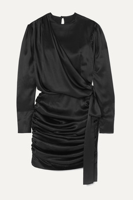 MATÉRIEL Gathered Silk-satin Mini Dress - Black