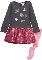 Juicy Couture French Terry Patch Sequin Bottom Dress & Tight Set (Toddler Girls)