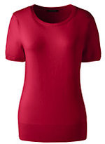 Classic Women's Plus Size Short Sleeve Supima Sweater-Raspberry