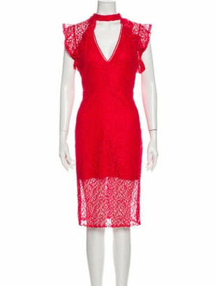 Alexis Lace Pattern Knee-Length Dress w/ Tags Red