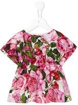 Dolce & Gabbana rose print dress - kids - Cotton - 6-9 mth