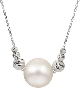 Brilliance+ PearLustre by Imperial Sterling Silver Freshwater Cultured Pearl & Brilliance Bead Necklace