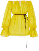 Thierry Mugler Off-the-shoulder Metallic Silk-blend Chiffon Mini Dress - Chartreuse