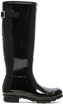 Hunter Back Adjustable Gloss Rain Boot in Black. - size 6 (also in 8)