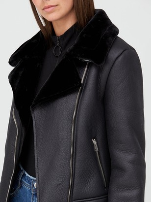 Missguided Faux Fur Lined Aviator Jacket- Black
