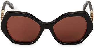 Roberto Cavalli 57MM Oversized Hexagon Sunglasses