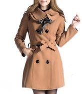 Hee Grand Women Wool Blends Coat Slim Trench Winter Coat