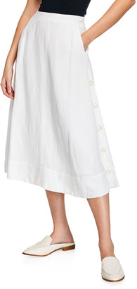 Nic+Zoe Front Runner Midi Skirt w/ Side Buttons & Pockets