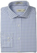 Haggar Men's Gingham Fancy Poplin Long-Sleeve Fitted Shirt
