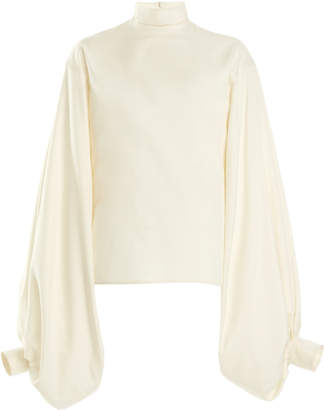 Victoria Beckham Balloon-Sleeve Silk Poplin Top