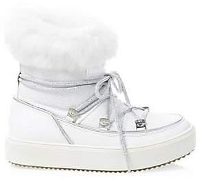 Chiara Ferragni Women's Glitter Leather Rabbit Fur-Lined Snow Boots