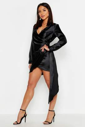 boohoo Satin Drape Front Long Sleeve Dress