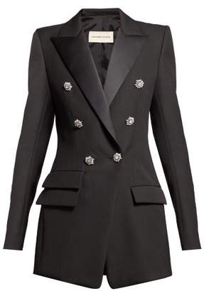 Alexandre Vauthier Crystal Button Double Breasted Wool Blazer - Womens - Black