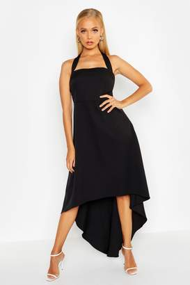 boohoo Halter Neck Asymetric Hem Midi Dress