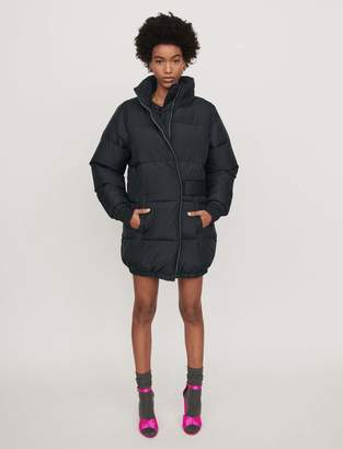 Maje Long hooded puffer coat