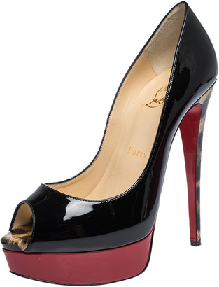 Christian Louboutin Black/Red/Leopard Print Patent Leather Lady Peep Toe Platform Pumps Size 37.5