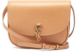 Saint Laurent Kaia Medium plaque Leather Cross-body Bag - Tan